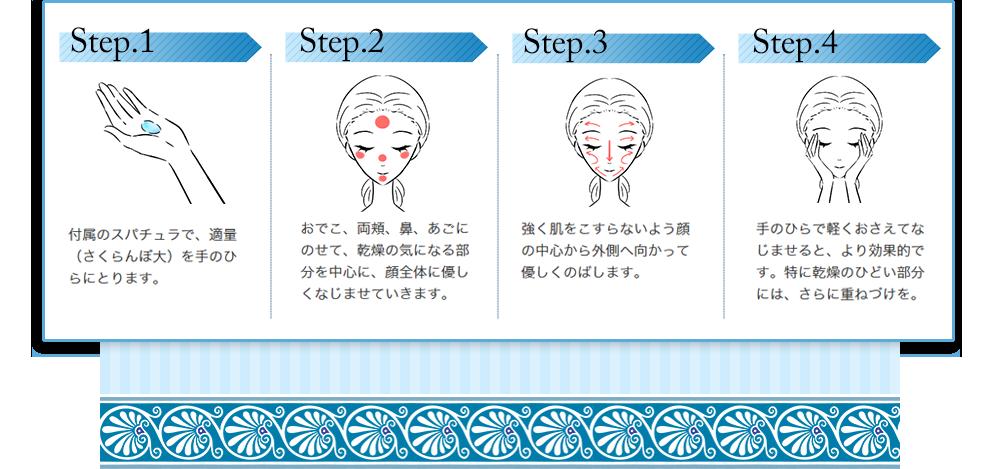 Step.1付属のスパチュラで、適量を手のひらにとります。 Step.2おでこ、両頬、花、あごにのせて、乾燥の気になる部分を中心に、顔全体に優しくなじませていきます。Step.3強く肌をこすらないよう顔の中心から外側へ向かって優しくのばします。 Step.4手のひらで軽く押さえてなじませると、より効果的です。特に乾燥のひどい部分には、さらに重ねづけを。
